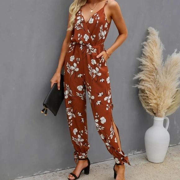 Floral Jumpsuit with Leg Slit